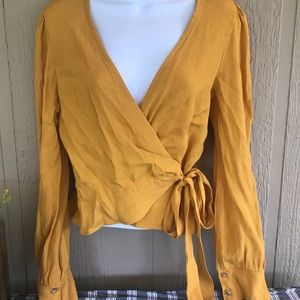 NEW Emory Park cross front tie blouse top LS gold